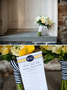 Navy and Yellow Wedding program, cute and whimsical