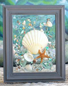 #sea glass art, #Irish Scallop Art, #beach Decor, # Bathroom Decor, #Coastal Wall Hanging, #ocean art