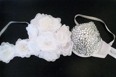 EDC inspired Burlesque  flower bra with rhinestones. $99.99, via Etsy.