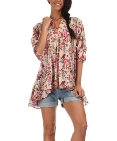 Look at this Pink & Beige Floral Notch Neck Top on #zulily today!