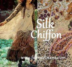 Paisley Silk chiffon. Boho Fabric. Beige Paisley. by fabricAsians