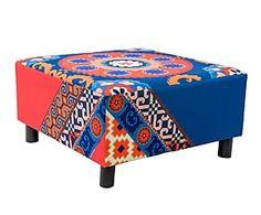 Mesa de centro de madera y poliéster Azzam - azul y teja