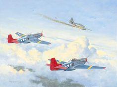 Dos P-51 Mustang del Grupo de Caza 332 (Tuskegee Airmen), conocidos como Red Tails (colas rojas), derriba a un Me-262 - DFB
