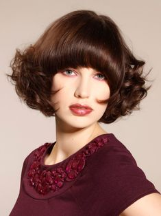 Stacked bob with full bangs med | rounded, heavy, long fringe softens the face and makes any look ...