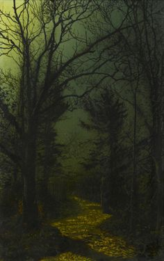 "catonhottinroof: "" John Atkinson Grimshaw (1836 - 1893) A WOODED LANDSCAPE WITH A WOMAN WALKING ON A PATH IN THE MOONLIGHT """