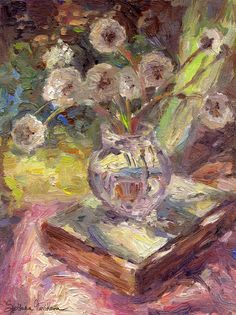 Impressionistic Dandelions flowers in a vase still life painting by Svetlana Novikova, www.SvetlanaNovikova.com