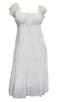Plus Size White Cotton Empire Waist SunDress - 4X - Casual