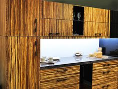 Modern Kitchen Zebra Bamboo Cabinets Metal Box Pull Out Drawers in Toronto Kitchen Cabinets And Granite, Bamboo Cabinets, Granite Countertops, Kitchen Island, Modern Kitchen Renovation, Modern Kitchen Design, Kitchen Designs, Bamboo Design, Tiny House Living