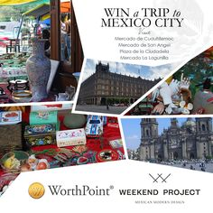 WorthPoint, the world's largest online database resource for identifying, researching and valuing antiques, art, and vintage collectibles is giving ONE lucky winner and a guest a weekend trip to Mexico City. Winners will get to explore renowned flea and antique markets accompanied by expert guides Seth Sullivan (Weekend Project Gallery) and Marina Viancini (Decada Rent Gallery).TRAVEL DATESFriday, Oct 14th – Monday, Oct 17th, 2016TRAVEL ITINERARYSATURDAY:Mercado de Cuauhtemoc A must stop…