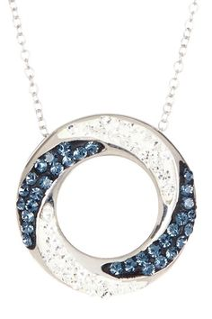 Sterling Silver Crystal Ring Pendant Necklace by Candela on @HauteLook