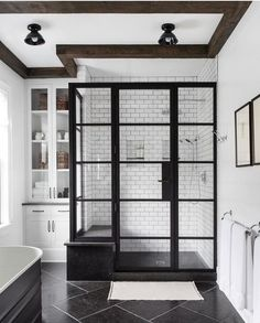 white and black modern bathroom design idea - - white and black modern bathroom design idea Bad Inspiration, Bathroom Inspiration, Bathroom Inspo, Modern Bathroom, Small Bathroom, Neutral Bathroom, Bathroom Mirrors, Bathroom Faucets, Wet Room Bathroom