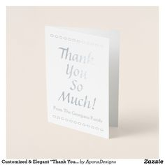 """Shop Customized & Elegant """"Thank You So Much!"""" Card created by AponxDesigns. Paper Envelopes, White Envelopes, Thank You Greeting Cards, Colored Paper, Thank You So Much, Place Card Holders, Elegant, Crafts, Appreciation Cards"""