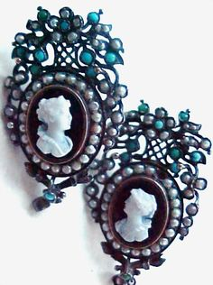 Victorian Turquoise Pearl Silver Cameo Earrings