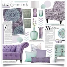 Lilac & Mint Home Decor by hmb213 on Polyvore featuring interior, interiors, interior design, home, home decor, interior decorating, Puji, Arteriors, Chandra Rugs and DENY Designs