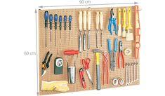 Panneau perforé bois crochets - Rangement outils