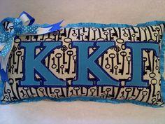 Kappa Kappa Gamma Greek letter Sorority Key Pillow. $20.00, via Etsy.