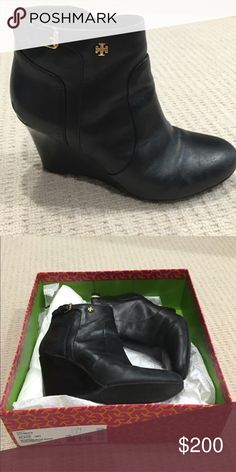 Tory Burch Wedge Bootie EUC Black Tory Burch wedge bootie. Great condition and very comfortable. I purchased from someone on Posh she wore them only 3-4 times, but I never did. These are totally gorgeous and I hope someone can wear them! Listed them for the same price I paid Tory Burch Shoes Ankle Boots & Booties