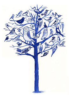 Blue birds tree I like this idea because it is showing the each different bird. it demonstrate the connection between them. i think that this was created by print technique because the colors are same, only thing that is different are the marks that every birds has a different marks.