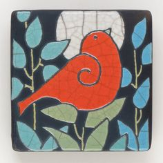 Red Bird Ceramic Tile