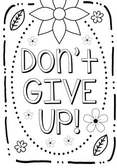 """Growth Mindset Coloring Page - """"Don't Give Up!"""""""