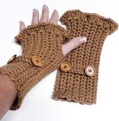 Crochet Knitted Ruffle Button Hand Warmers Fingerless Gloves Caramel You Choose Colors! gingasgalleria.artfire.com