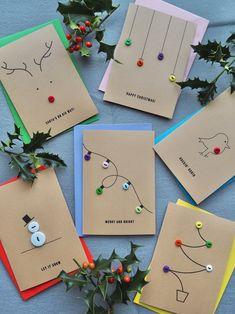 Christmas Card Crafts, Homemade Christmas Cards, Christmas Cards To Make, Christmas Activities, Christmas Wrapping, Christmas Art, Christmas Projects, Holiday Crafts, Holiday Fun