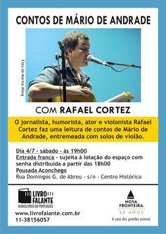 Contos de Mário de Andrade com Rafael Cortez em Paraty durante a FLIP. Não perca, será na pousada aconchego!