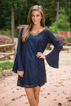 """""""Gratefall For Lace Dress, Navy"""""""