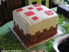 This Cake Block Minecraft Birthday Cake is so easy to make. Anyone can do it. Save a TON of money by making your own Minecraft Birthday Cake.