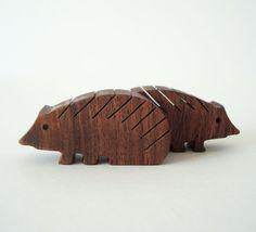 Wood Toy Hedgehog Pair Miniature Noahs Ark Animals Zoo Play Set Hand Cut Scroll Saw