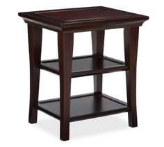 Metropolitan Side Table Espresso stain Accent Table End Tables Coffee Tables Pottery Barn Round End Tables, Small End Tables, Glass End Tables, Eclectic Living Room, My Living Room, Pottery Barn End Tables, Furniture Upholstery, Home Furniture, Bedroom Furniture
