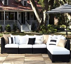 Build Your Own - Palmetto All-Weather Wicker Sectional Components - Black #potterybarn
