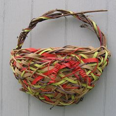 by Red Twig Brown Twig | 'Grapevine pouch'.  Random weave basket created over a grapevine frame