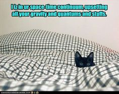 I iz in ur space-time continuum, upsetting all your gravity and quantums and stuffs.