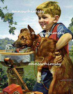 "A Boy and His Dog Art Print, ""EVERYONE Needs Water"" Sweet Sweet Boy's Room Print #424"