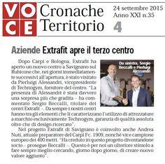 """""""Extrafit apre il terzo centro"""" (Settimanale Voce, 24 settembre 2015)"""