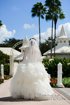 A picture perfect moment of a bride at Disney's Wedding Pavilion