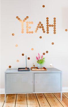 Kupfer-Konfetti / copper confetti wallstickers (10 für 9,90 Euro, 30 für 19,90 Euro) bestellbar über/ available here: http://de.dawanda.com/product/46106302-30er-Set-Kupfer-Konfetti
