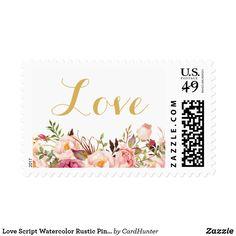 Love Script Watercolor Rustic Pink Peony Floral Postage
