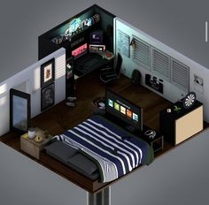20 tips will help you improve the environment in your bedroom. Gamer Bedroom, Bedroom Setup, Room Ideas Bedroom, Small Game Rooms, Gaming Room Setup, Gaming Rooms, Cool Gaming Setups, Best Gaming Setup, Home Office Setup
