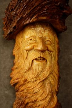 Wood Spirit Wood Carving, A Unique Christmas Gift For Dad, Ooak Log Cabin Decor…