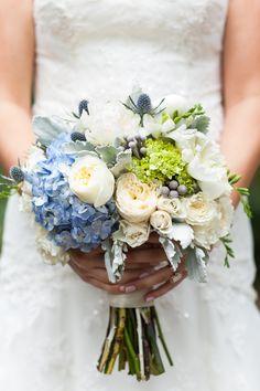 bouquet, garden roses, hydrangeas