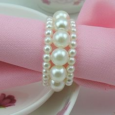 Tangpan Imitation Pearl Napkin Rings With Elastic For Wed…