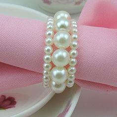 Tangpan Imitation Pearl Napkin Rings With Elastic For Wed…