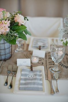 love the striped menus/favor bags at seats! | photo by Kristyn Hogan