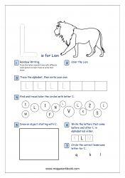 Alphabet Recognition Activity Worksheet - Capital Letter - L For Lion Letter L Worksheets, Free Printable Worksheets, Alphabet Activities, Printable Alphabet, Printables, Alphabet Writing Practice, Alphabet Tracing, Pre Writing, Writing Skills