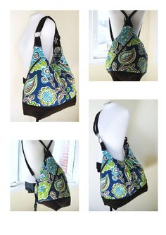 Items similar to XL convertible backpack purse - 17 inch laptop diaper bag - Sky Pool on Etsy