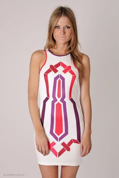 CRUISE AWAY COCKTAIL DRESS - WHITE WITH CORAL/PURPLE PRINT