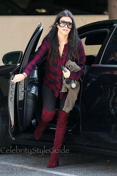 Kourtney Kardashian Walks Tall In Stuart Weitzman Highland Boots