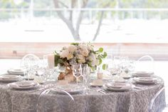 Pale Green and Blue Wedding Table